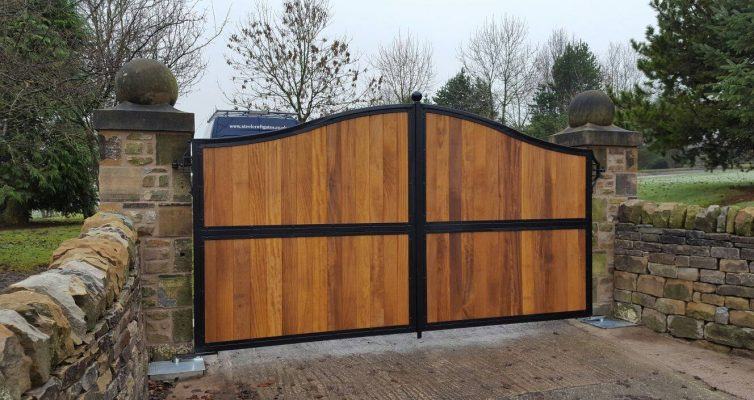 Incorporate decorative wood into your steel fabricated gates