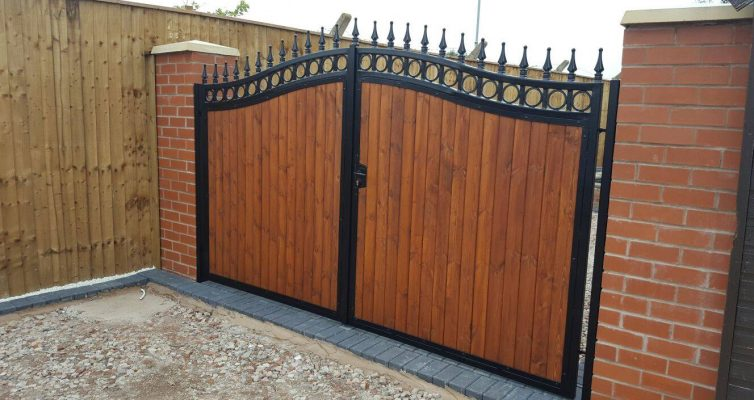 Wood Infill Steel Gates